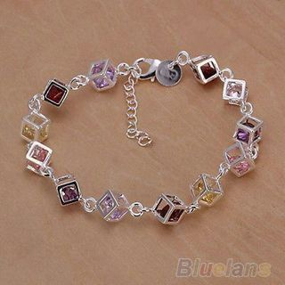 Women Silver Plated Cube Colorful CZ Bracelet Bangle Jewelry Gifts New Fancy