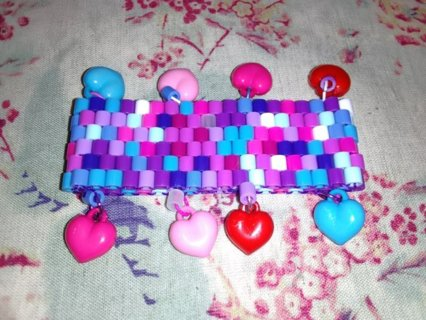 Kawaii Hearts Pixel Style Stretch Bracelet