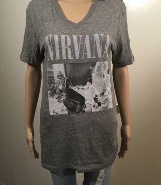1 NEW NIRVANA Shirt Concert V NECK BAND Tee Long Length FREE SHIPPING