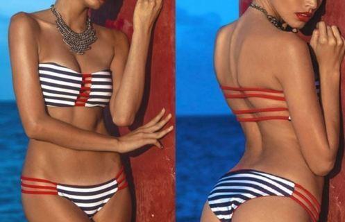 NEW Swimwear Sexy Bather Striped Bikini Bandeau Swimsuit Push Padded Bra Beachwear FREE SHIPPING