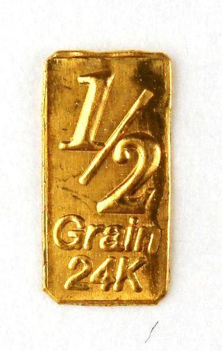 GOLD 1/2 Gn(NOT GRAM)BAR OF 24K PURE .999 FINE GOLD BULLION b31