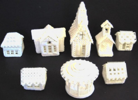 Plastic Canvas Snow Village Set (Finished Pieces)