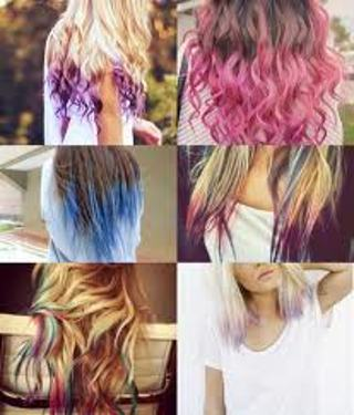 Dip dye .Hair chalking DIY instructions for hair! Any color! Under $1