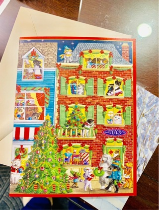 Lot of 4 Extremely Rare & Hard-to-Find CASPARI Panoramic Pets Celebrating Christmas Cards, Envelopes