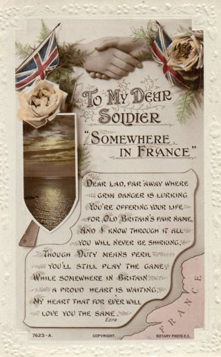 Vintage used postcard: To My Dear Soldier Somewhere in France