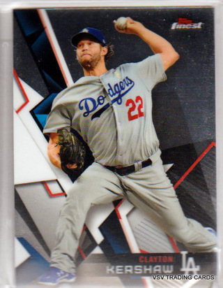 Clayton Kershaw, 2018 Topps Finest Card #40, Los Angeles Dodgers