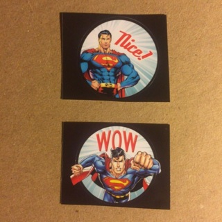DC Comics Superman Round Stickers ~ 2 TOTAL ~ NEW!