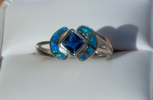 LOVELY SAPPHIRE AUSTRALIAN OPAL RING SOLID 925 SILVER SIZE 8
