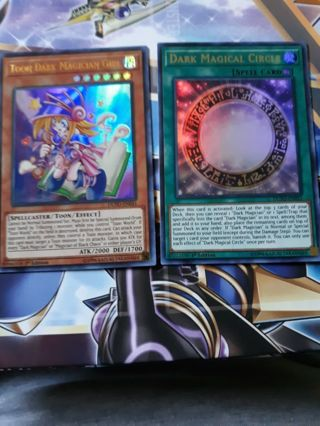 2 ULTRA rare holo yugioh cards Toon dark magician girl and Dark magical circle spell card*******