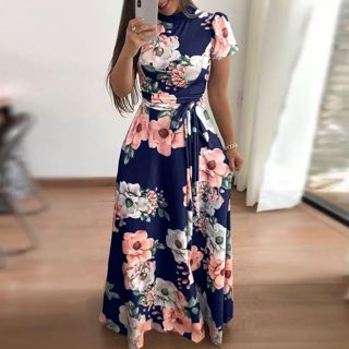 Dress Fashion Women O-Neck Floral Printed Short Sleeve Dress Empire Sashes Casual