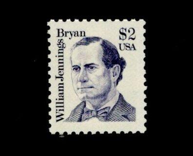 $2  US Scott # 2195 Single Stamp MNH, William Jennings Bryan