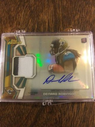 2013 TOPPS FINEST 2-COLOR PATCH AUTOGRAPH ROOKIE CARD OF DENARD ROBINSON