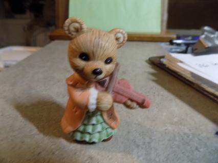 Homeco Porcelain girl bear playing violin Vintage