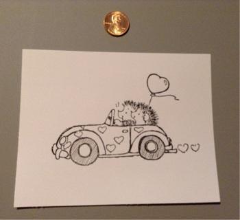 Rubber stamped Image *  Hedgehog Love *Valentines