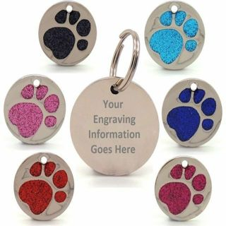 Engraved Glitter Paw Print Tag Dog Cat Pet ID Tags Reflective