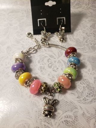 Euro Braclet ♡♡ Jelly Beans the Bunny♡♡ Braclet and Earrings