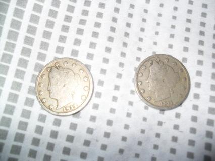 2 V nickels 1911 1912
