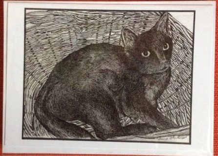 "KITTY IN BASKET- 5 x 7"" art card by artist Nina Struthers - GIN ONLY"