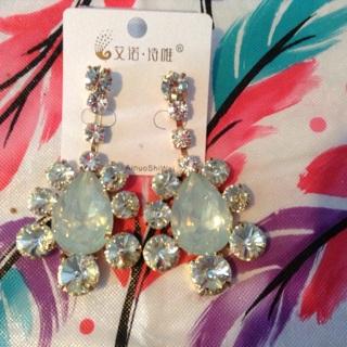 Cz and Opal stud dangle earrings