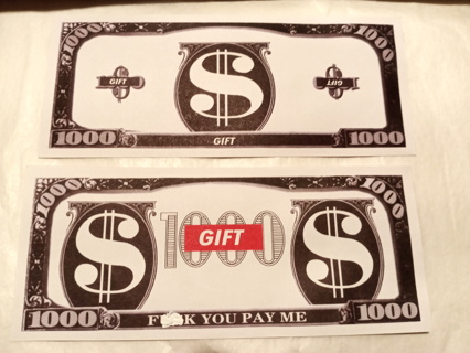 $1,000 BILL ADULT GAG GIFT