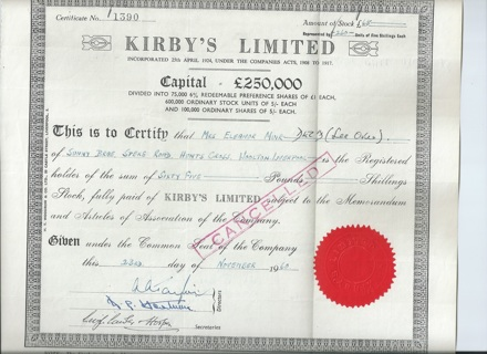Kirby's Limited stock certificate 1960 Southport Lancaster England UK