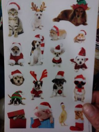Christmas pets sticker sheet really cute! Win two or more get extra! No lower!