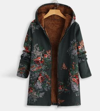 Autumn Autumn Winter Women Lining Parquet Thickened Warm Jacket Long Sleeve Cotton Jacket