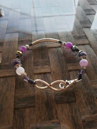 Infinity, purple matte Agate crystal bracelet~ XL for large wrists
