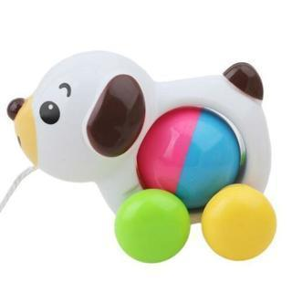 Pull Line Along Rattles Plastic Duck Dog Toy Toddler Kids Learning Walk Toy W