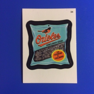 2016 Wacky Packages MLB Sticker Card  ~ ORIOLES SUNFLOWER SEEDS (# 34)