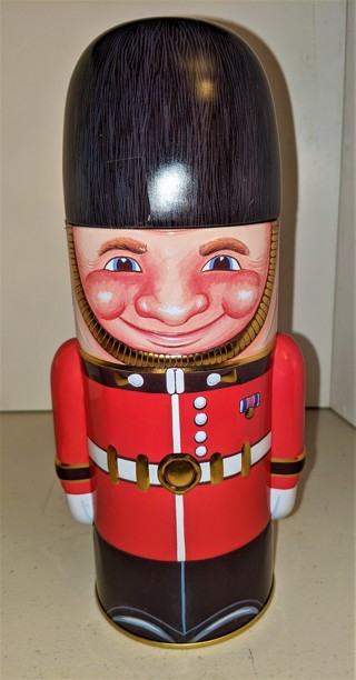 """Metal Soldier tin for cookies or collectibles - 9 1/4"""" tall - 3 1/4"""" diameter - Excellent condition"""