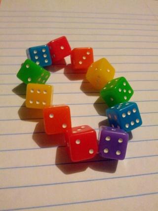 Bright Rainbow Dice Bracelet **GIN**