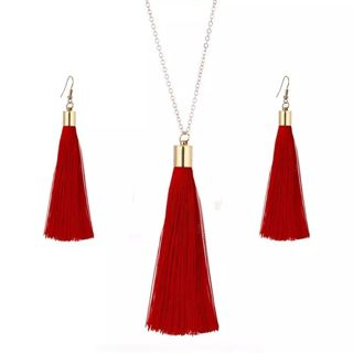 European Exaggerated Jewelry Set Ethnic Boho Long Tassel Drop Earrings Necklace