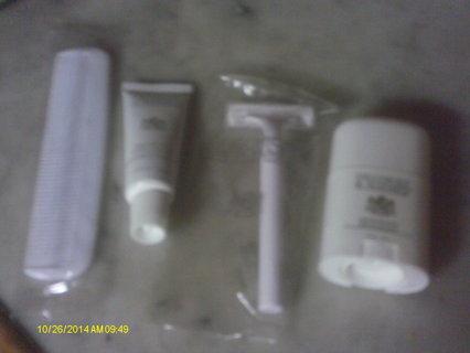 Shave cream/comb/razor/deoderant