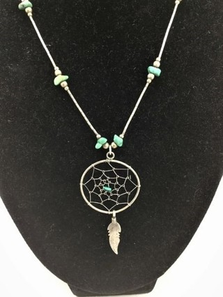 Sterling Silver turquoise Dream Catcher Necklace