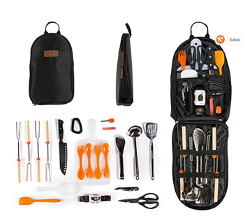 Camping Cooking Utensil Organizer Travel Set: 21 Piece