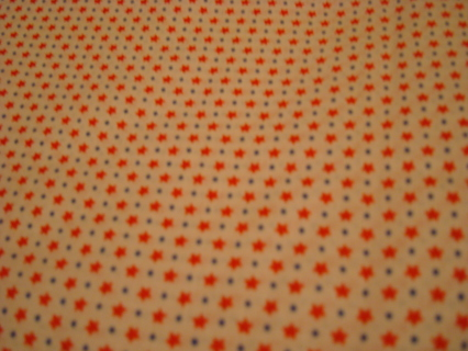 Red stars on white 100 % cotton