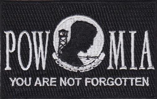 "1 POW MIA Flag Embroidered Patch Iron on 3.5""x2.25"" Free Shipping Military Veteran War"