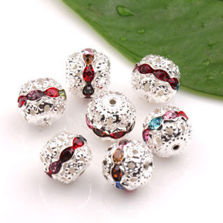 20Pcs Czech Crystal Rhinestones Round Disco Hollow Out Spacer Beads Findings