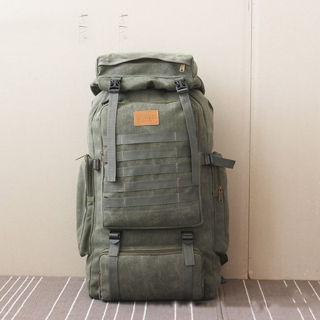 2020 60L Large Military Bag Canvas Backpack x1 Green