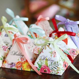 10PCs Wedding Favor Candy Gift Box Triangular Flower Ribbon Birthday Party Decor