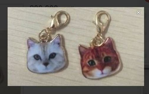 (2) NEW Cat Head Dangle Charm Accessories Kitty Kat Meow FREE SHIPPING