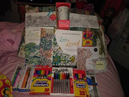 ♡◆♡◆♡BRAND NEW 60+ PC. ADULT COLORING BOOK & MORE BUNDLE♡◆♡◆♡WINNER GETS ALL!