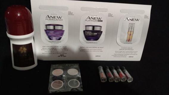 Tiered Avon Imari perfume deodorant, 5 lipstick bullets, Anew day, night cream & serum, eyeshadow