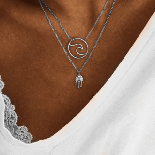 Punk Palm Wave Pendant Multilayer Chain Silver Necklace Set Womens Summer Beach Hollow Clothing