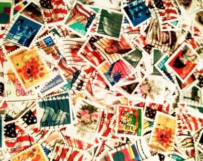 (40) Stamps Mixed Random Hinged Used Collectible Postage Stamps