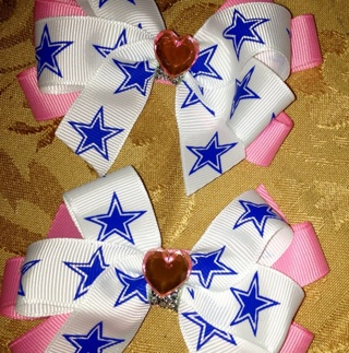 Dallas Cowboys Pair Of Hair Bows