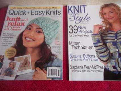 Lot of 2 Knit Pattern Magazines