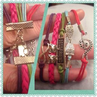 2 infinity Bracelets bronze Necklace