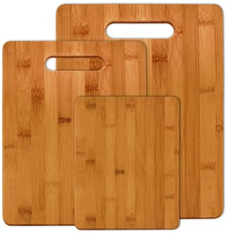 ☺~ 3 Pcs Bamboo Cutting Boards - Fruit, Veggies, Meat Chopping Board with Handle ~☺